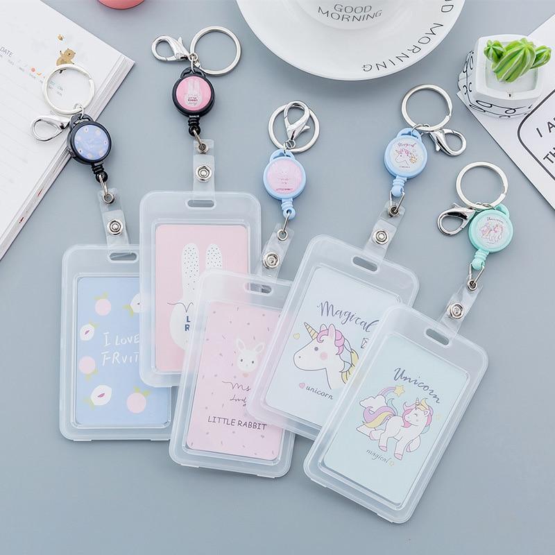 Cute Cartoon Transparent Card ID Badge Holder Kawaii Unicorn Retractable Badge Buckle Name Tag Card Holder For Gifts