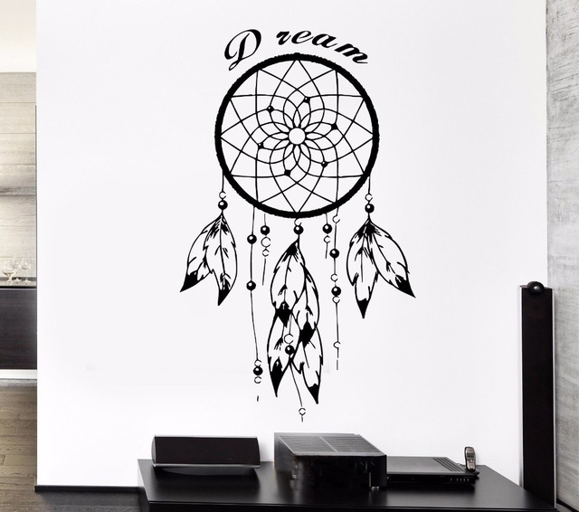Black Wall Decal Dreamcatcher Native American Indian Quote Dream Amulet For Bedroom Sticker Vinyl Stencil Mural Home Decor