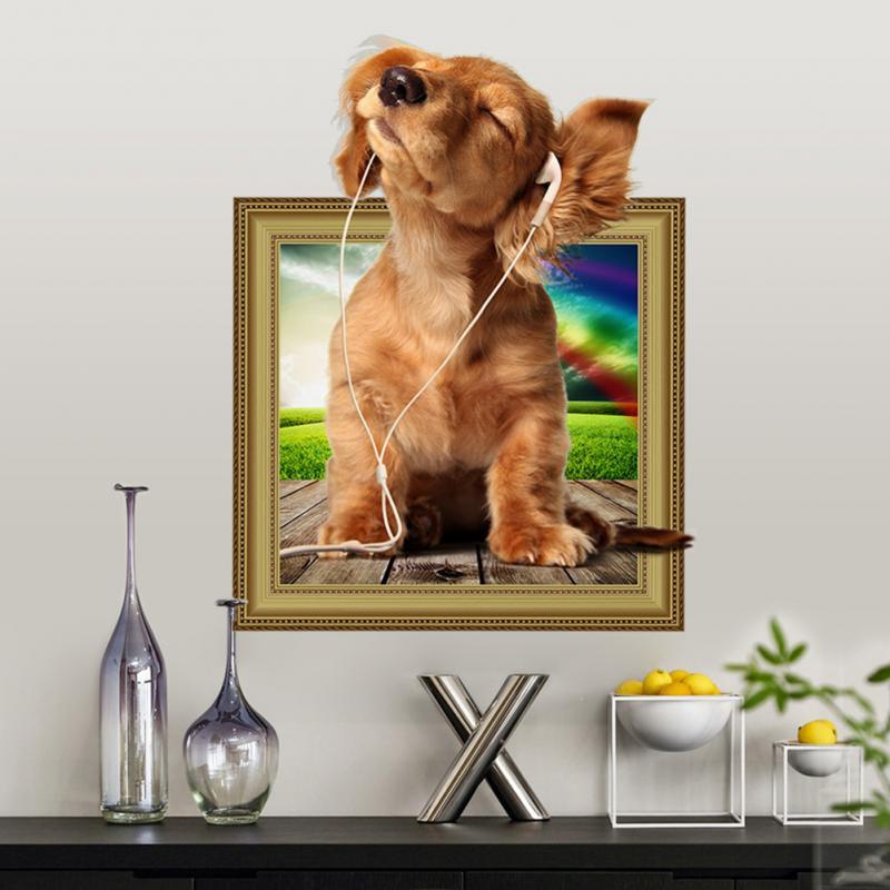 47*37 cm Schöne 3D Hund Welpen Musik hören PVC Wandtattoos ...