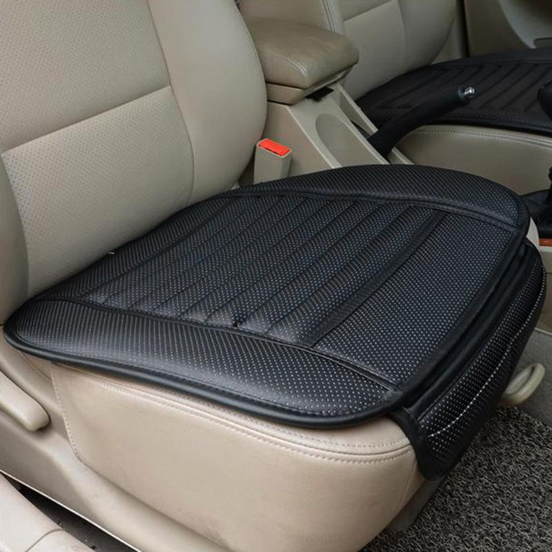 Light Grey Car Seat Cushion Cover Universal Car Seat Covers Waterproof with PU Leather Car Seat Pad Mat Bamboo Charcoal Car Seat Protector Accessories Four Seasons