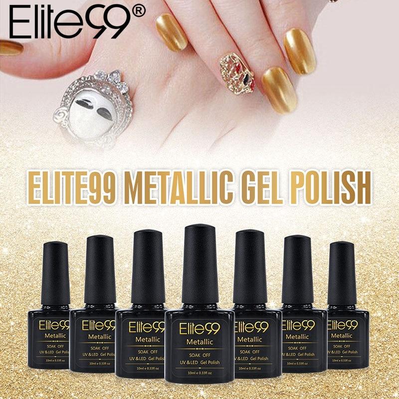 Metallic Gel Nail Polish: Elite99 10ml Metallic Mirror Effect UV Gel Polish Long