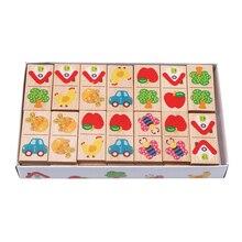 Деревянный мультфильм фрукты животное распознавать блоки домино головоломки Монтессори детей обучения и образования головоломки игрушки