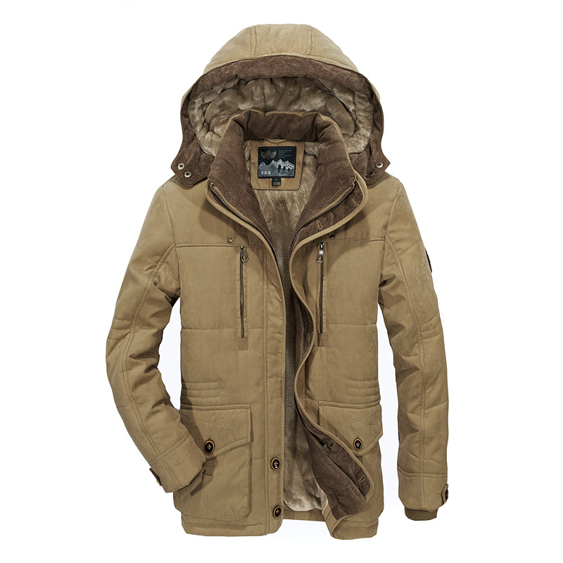 2019 Winter Mens Hooded Jacket Business Casual long cotton thick warm coat male Solid color zipper Fleece outwear plus size 6XL