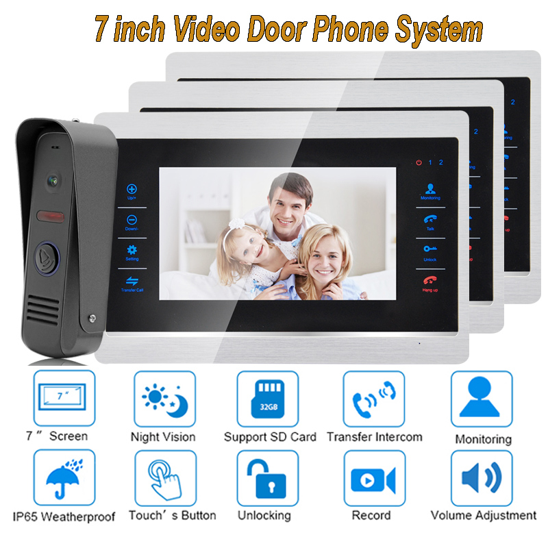 7 Inch Video Door Phone Monitor Intercom System Kit Night Vision 1200 TVL Doorbell Camera Recording SD Card Support 1V3 7 inch color tft video door phone doorbell intercom kit 2 camera 1 monitor night vision electric lock control mfbs