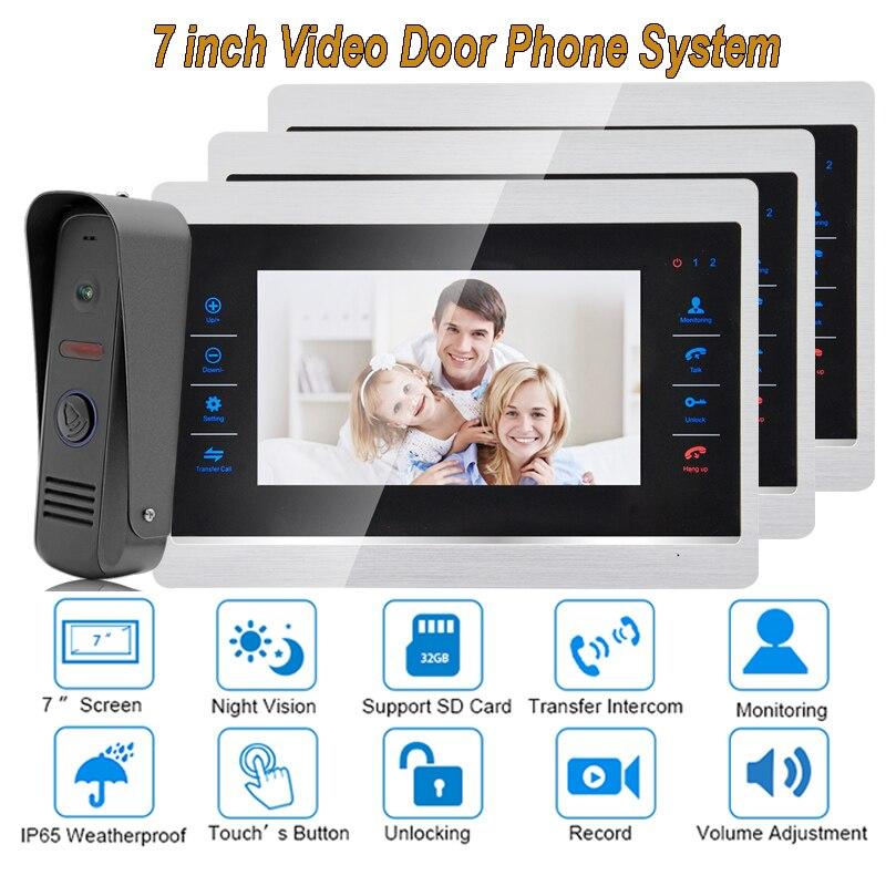 7 Inch Video Door Phone Monitor Intercom System Kit Night Vision 1200 TVL Doorbell Camera Recording SD Card Support 1V3