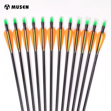12pcs / lot Fibra de sticla Arrow 80cm Tir cu arcul Vânătoare Nock Proof din fibră de sticlă Arrow Steel Point 30-80lbs