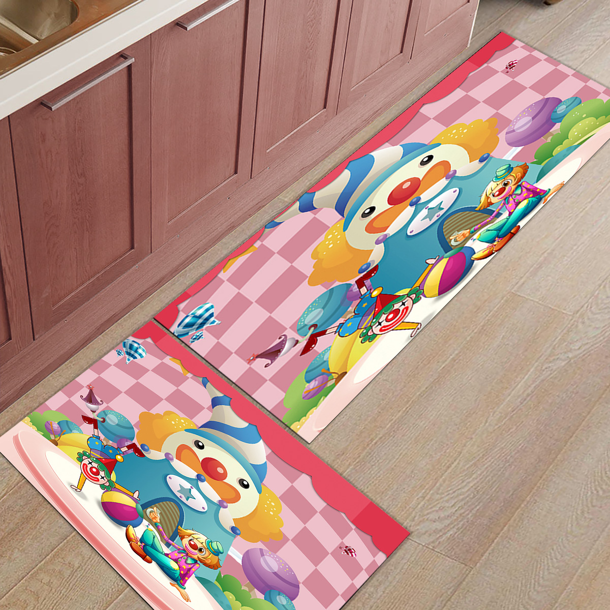 Bande dessinée Clown 2 pièce cuisine tapis paillassons pour entrée voie saleté débris boue trappeur chaussures de démarrage grattoir accessoire ensembles plancher