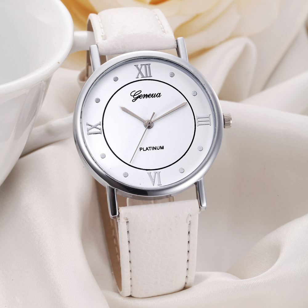 Geneva Watch Women Fashion Roman Numerals Analog Quartz Wrist Watches Mens Unisex Lady PU Leather Band Sports Watches White #Zer watch for womens is classic look ladies metal case golden dial leather analog quartz fashion geneva roman numerals watches
