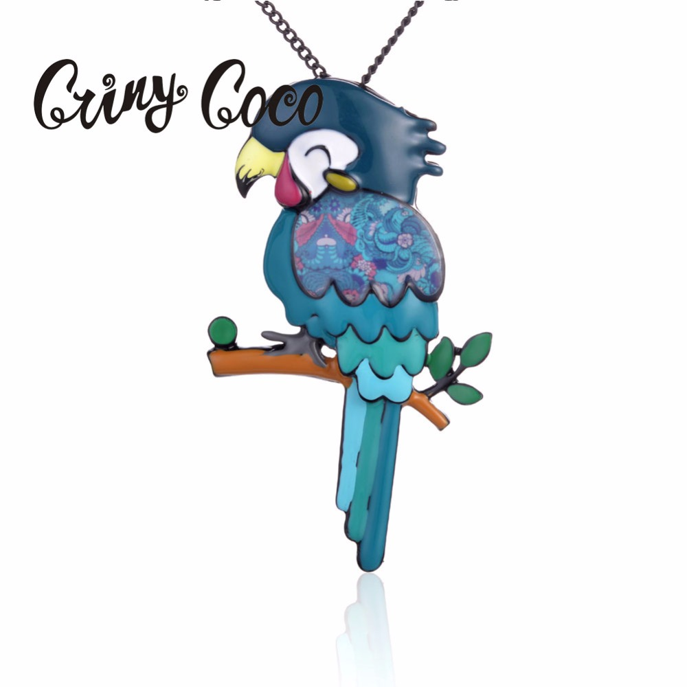 Parakeet Necklace for Women Girls Birthday Gifts Blue Enamel Alloy Pendant Jewelry Accessories High Quality 2019 Best selling in Pendant Necklaces from Jewelry Accessories