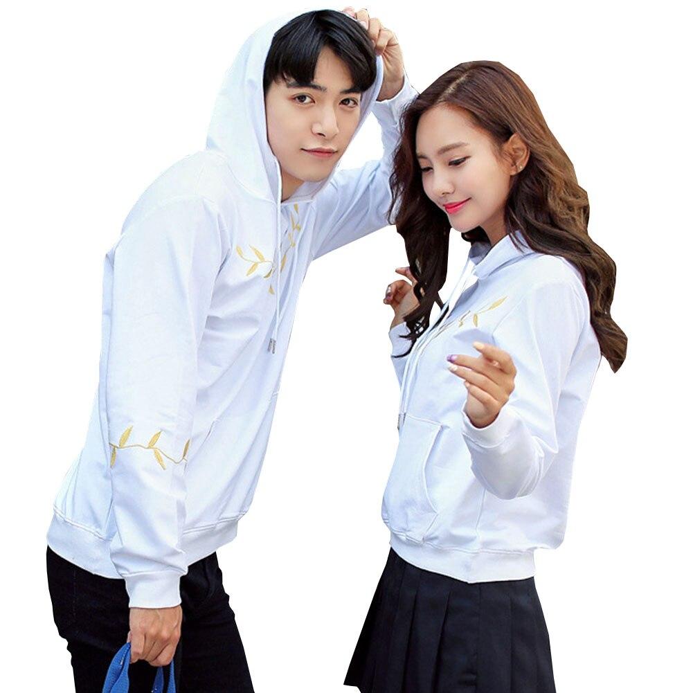 2018 Women Men Long Sleeve Solid Green Leaves Print Pullovers Ladies Hooded Hoodies Thin Belt Couple Sweatshirts Hot