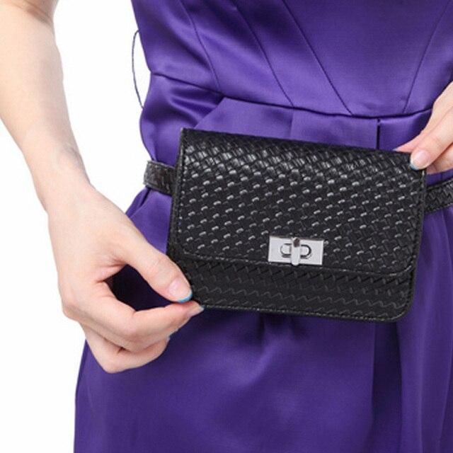 Mujeres Paquete de La Cintura Bolso de La Cintura Bolso de La Correa Del Cerrojo A Cuadros Bolsas de Las Mujeres Ocasionales de Cuero