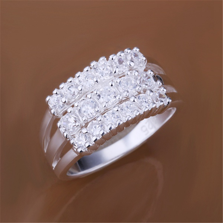 Wholesale New silver plated fashion noble charm female three-row Crystal Ring R143