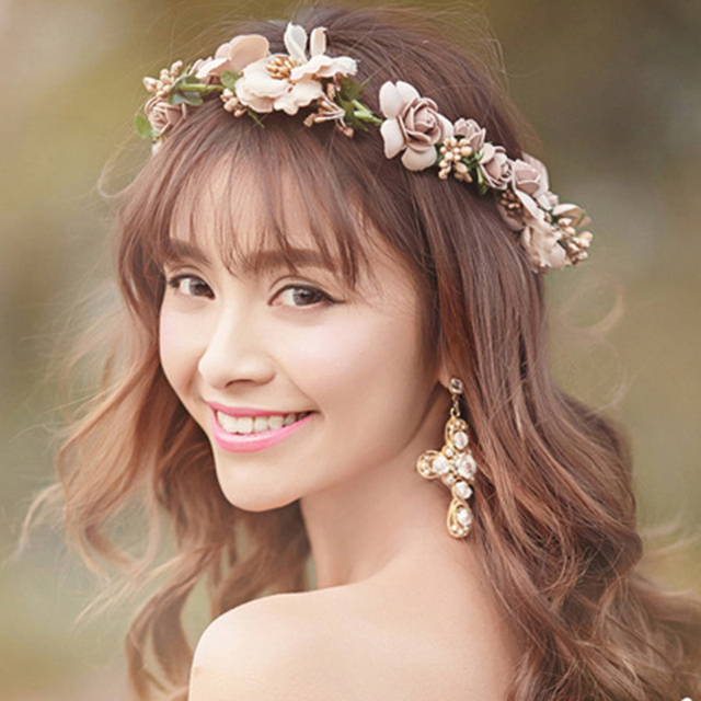 TUANMING Plant Pageant Multicolor Flower Crown Bridal Hair Accessories New Fashi