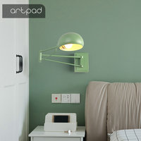 Artpad Modern Metal Creative Bedroom Bedside Light On The Wall Scalable Long Arm Work Read and Writing Wall Lamp