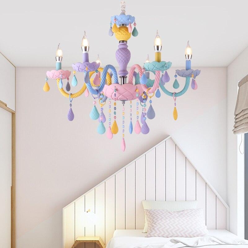 Işıklar ve Aydınlatma'ten Avizeler'de Amerikan çocuk odası avize Macaron kristal aydınlatma İskandinav basit giyim mağazası Avrupa pastoral tavan lambaları title=