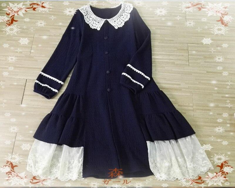 Autunno Dolce rosso Ricamo Retro Giapponese Rappezzatura Vestito Donne Blu Dell'increspatura Della Delle Del Lolita Ragazza Mori Di Merletto TqSSwtfZ