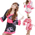 Free Shipping Women Satin Sexy Kimono YUKATA Bath Robe Sleepwear Lingerie Nighties Dress Gown