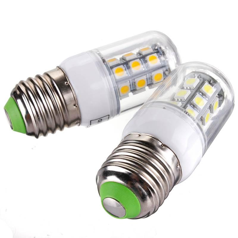 LED Light Bulb E27 3W 27 LED 5050 SMD Energy Saving Corn Light Pure Warm White Lamp Spotlight Bulb Pendant Lighting AC/DC12V