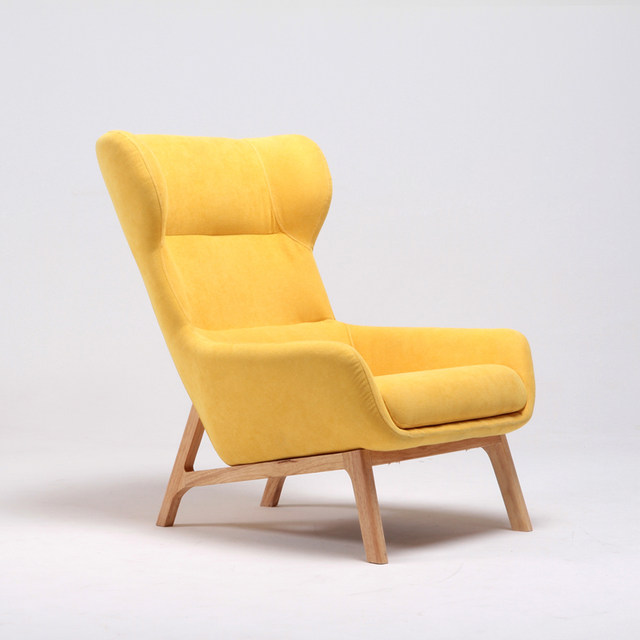 Mid Century Modern High Wingback Fabric Upholstered Living Room Accent Chair  Furniture Luxury Home Armchair Wing Chair Lounge