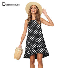 цены на 2019 Disappearancelove New Women Casual Wave Point Print Flounce Sleeveless Dress Pocket Dress High Quality Fashion Dress  в интернет-магазинах