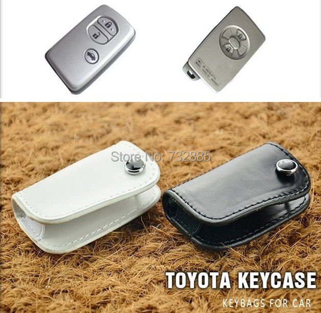 Genuine leather Car key Case For Toyota Reiz Crown RVA4 Corolla Camry Prado Smart Key Fashion For Toyota Key Holder Bag Ring