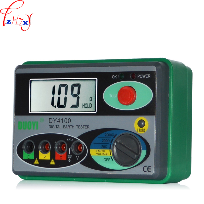 1pc DY4100 Ground resistance tester high precision digital lightning protection test ground shake table AA 1.5V * 6 / 12V * 1 цена