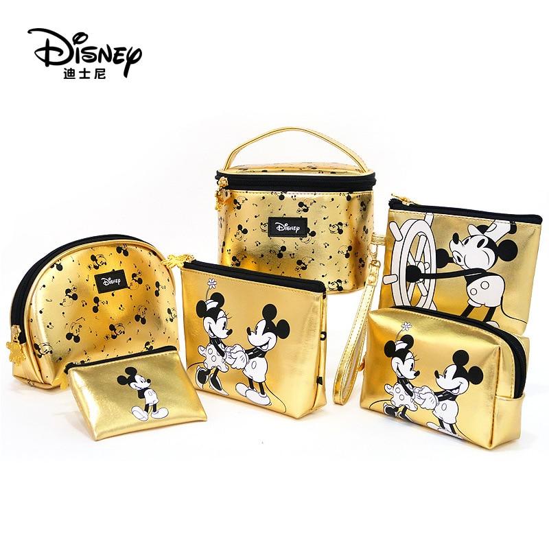 Disney Pu Minnie Mouse Portable Cosmetic Make Up Bag Multi-purpose Storage Coin Golden Purse Handbag Cartoon Mickey Mouse Makeup
