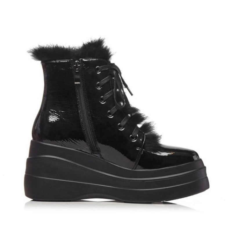 FITWEE gerçek deri kadın yarım çizmeler kış sıcak Platform ayakkabılar kadın moda kürk takozlar siyah kadın Zapatos boyutu 34-39