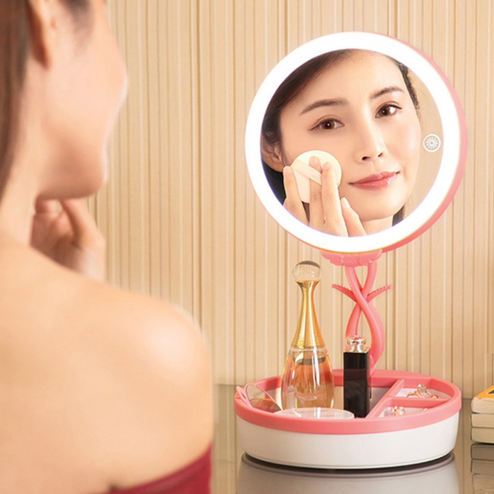 Foldable LED Makeup Mirrors USB Desktop light Sensor Vanity Mirror 28 LEDs 3X Magnification Desk Stand Gift Infrared Induction usb 3xaa powered flexible neck 15 led white light desktop mirror w 3x magnification for makeup