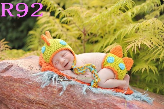 Online Shop Free Shipping Baby Crochet Dinosaur Hat And Diaper Cover