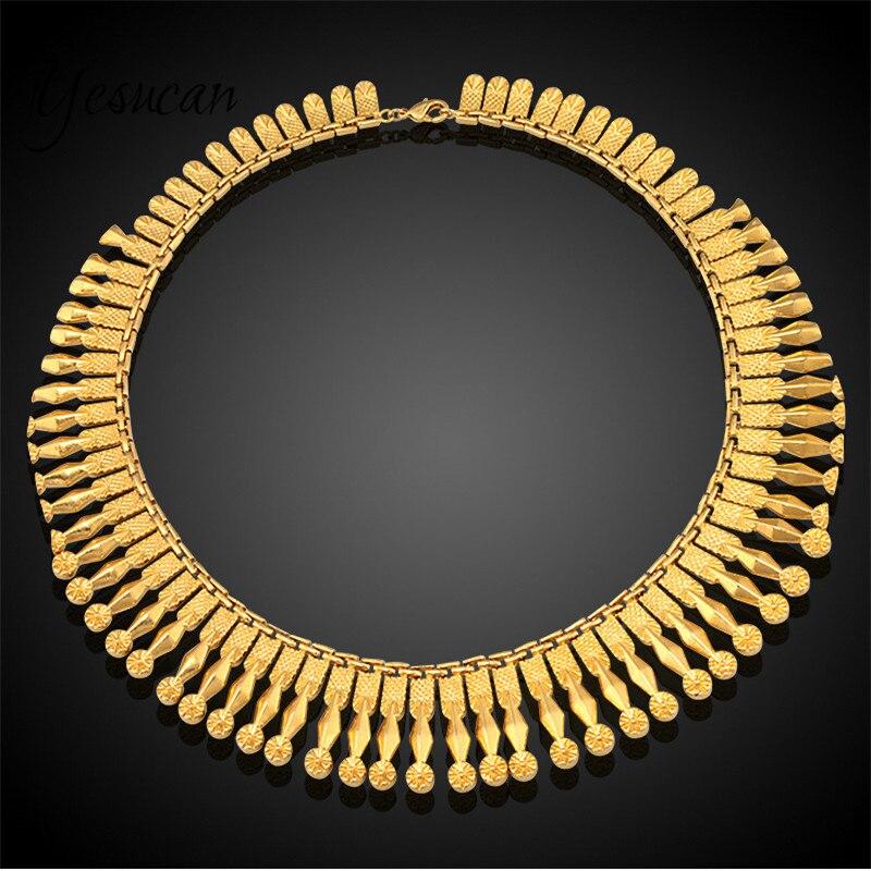 Yesucan Top Copper Tassel Collor Chokers Jewelry Neck Bib Torques Chain Tassels Statement Necklace Pendant Women Weeding Jewelry
