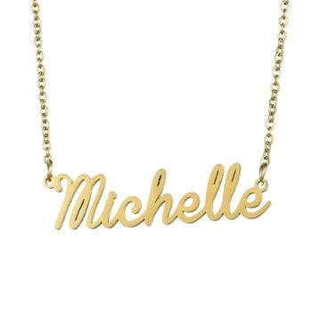 b0c72a80c125 Envío de la gota personalizado collares de oro de acero inoxidable de Color  nombre Michelle collar regalo placa colgante collar