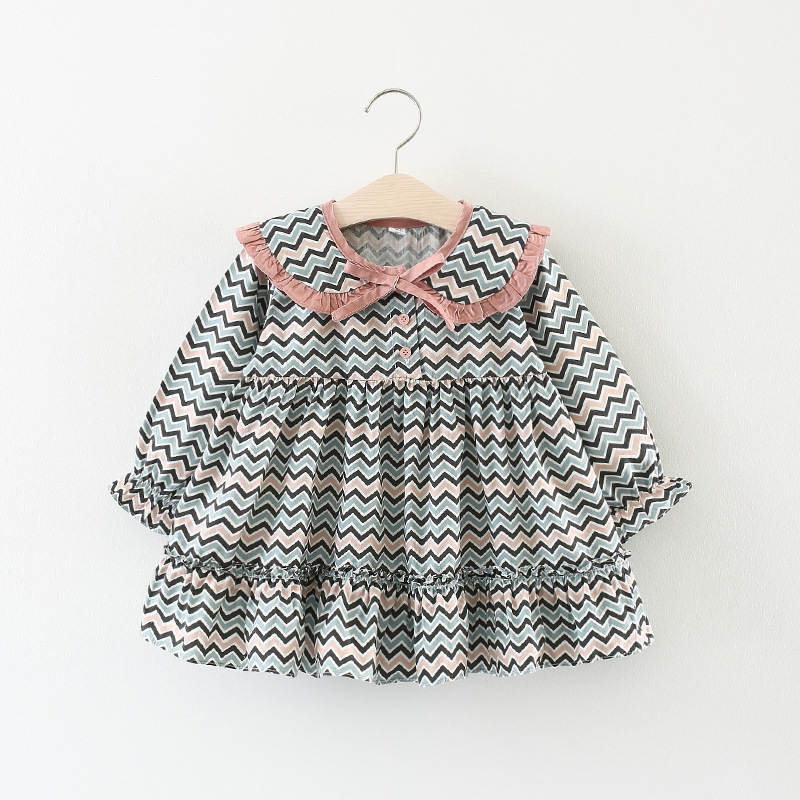 Spring and Autumn Girls' Dress Princess Dress Big Wave Print Dress Children's Clothing Wholesale 0-3 Years A204