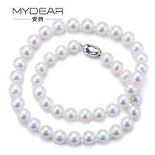 MYDEAR de Perlas Collar de La Joyería de Fashional 9-10mm Collar de Perlas de Agua Dulce Strand, Alto Brillo, Perfectamente Redonda