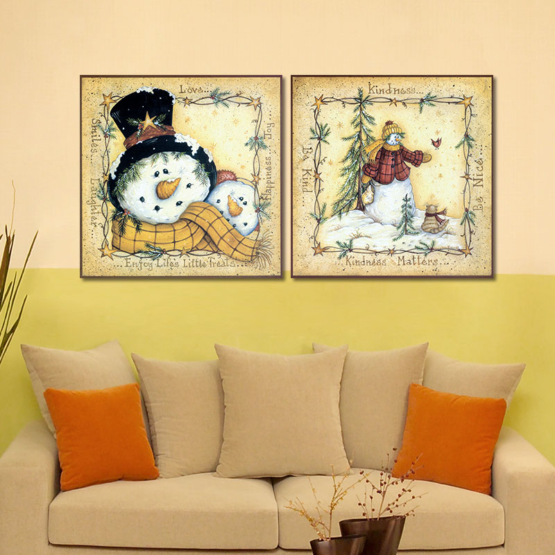 2pcs/set lovely snowman family Christmas decoration wall art ...
