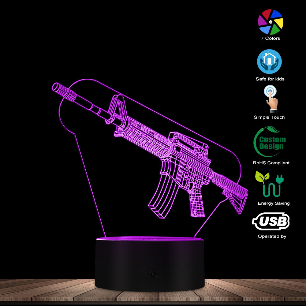 Optical illusion Table Lamp Machine Gun Design 3D Acrylic Lights Military Weapon AK Gun Night Light Gift for Gun EnthusiastsNovelty Lighting   -