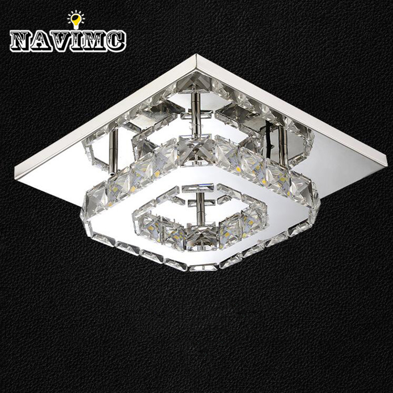 цена 1 PCS Modern LED Crystal Ceiling Light Fixture Square LED Crystal Lamp for Hallway Corridor Asile LED Lighting Fast Shipping