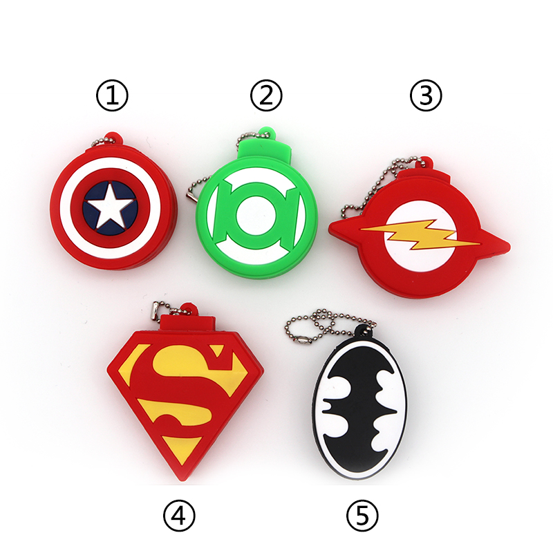 Popular Super Heros Shield USB Flash Drive Pendrives 64GB 32GB 16GB 8GB 4GB Captain America Pen Drive Batman Memory Stick Usb2.0