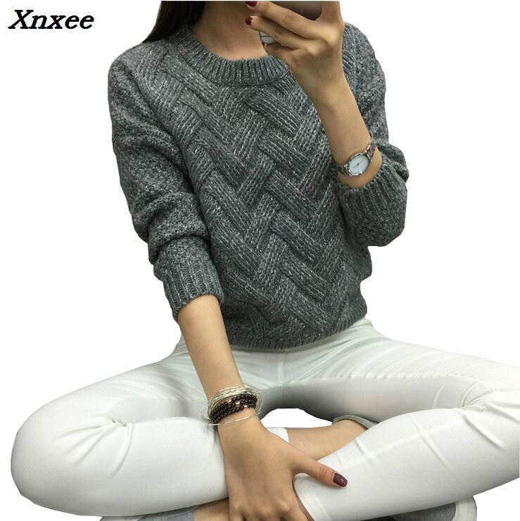 Xnxee 2018 Women Pullover Female Casual Sweater Plaid O-neck Autumn and Winter Style