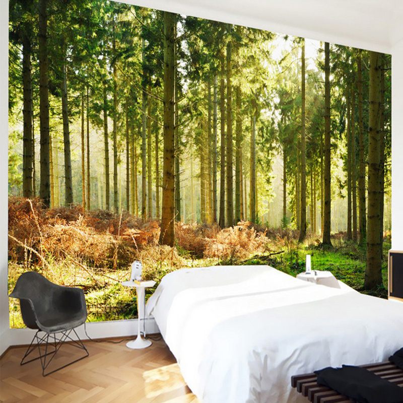 New design texture wallpaper beautiful forest sunshine for Nature wallpaper for bedroom