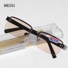 Очки без оправы в классическом стиле, стеклянные линзы в коробке, очки для чтения, простые зеркальные Мужские очки унисекс 0+ 1,0 1,5 2,0 2,5 3,0 3,5 4,0