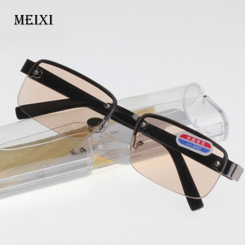 Rimless Classic Style Glass Lenses Boxed Reading Glasses Plain Mirror Men Women Unisex Eyewear 0 +1.0 1.5 2.0 2.5 3.0 3.5 4.0