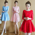 2017 Fashion Women Summer Party Mini Dress Long Sleeve Blue Red Black Pink Yellow Lace Dresses Lady vestidos Plus Size Dress