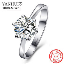 YANHUI Original Solid 925 Silver Ring Fine Jewelry Solitaire 1 Carat 6mm CZ Zircon Wedding Rings for Women JZ023(China)