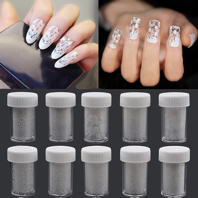 White Lace Star Sticker Nail Art Print Shining Smooth Nail Sticker ...