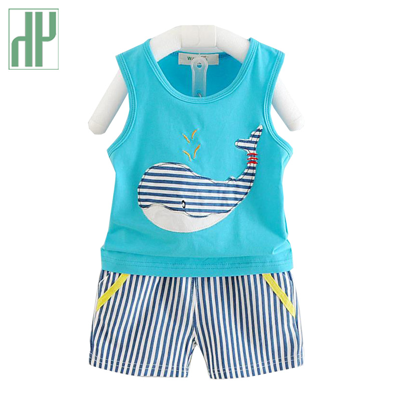 Toddler boys clothing set Sleeveless Vest stripe shorts 2pcs Suit children clothing Cartoon Kids Cotton girls summer clothes summer baby boys clothing set cotton animal print t shirt striped shorts sports suit children girls cartoon clothes kids outfit