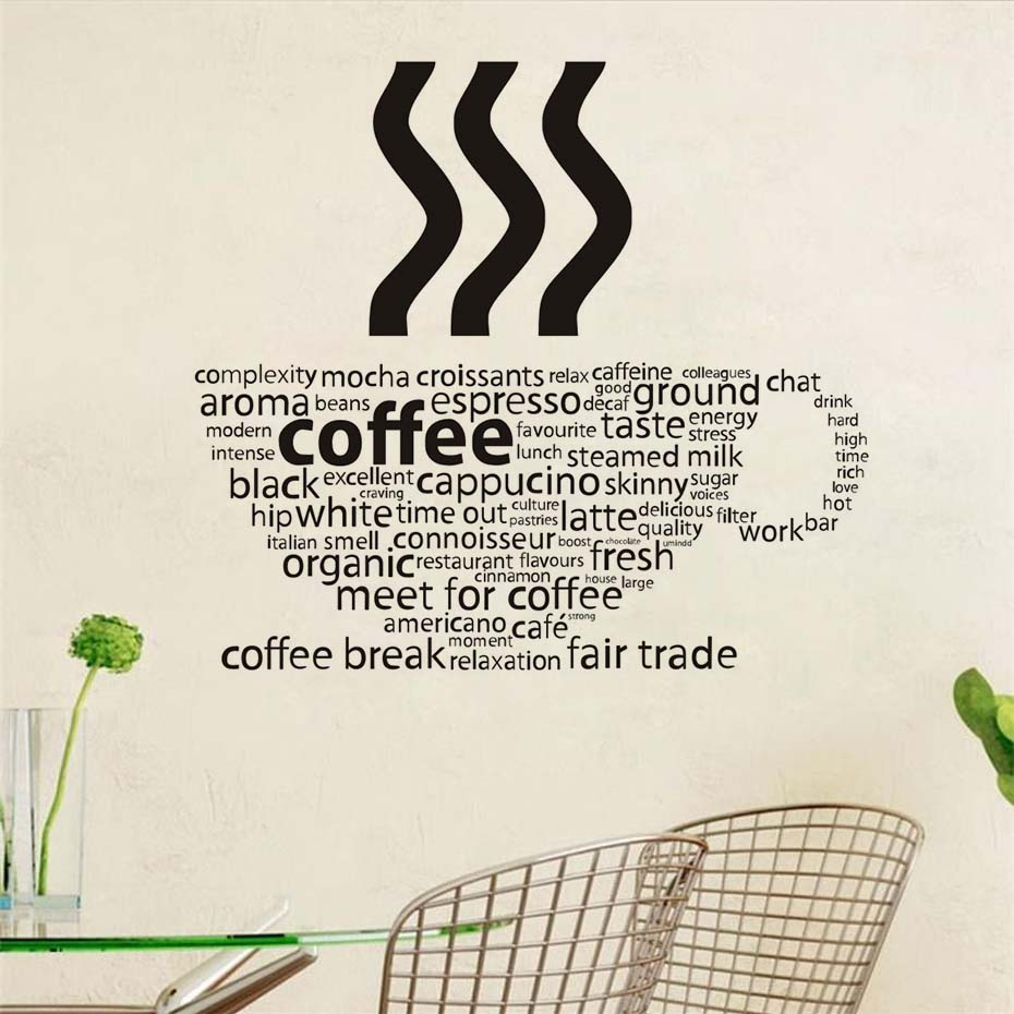All Kind Letters Coffee Wall Sticker Coffee Cup Shop Restaurant Wall