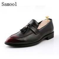 2017 Spring Autumn Classic High Quality Leather Men Handmade Loafers With Black Tassel Fashion Banquet And
