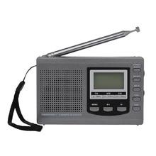 HRD 310 Mini FM/AM/SW Radio wielopasmowym cyfrowy stereofoniczne Radio przenośne odbiornik słuchawka czas Alarm z wyświetlaczem zegar obrotowy anteny