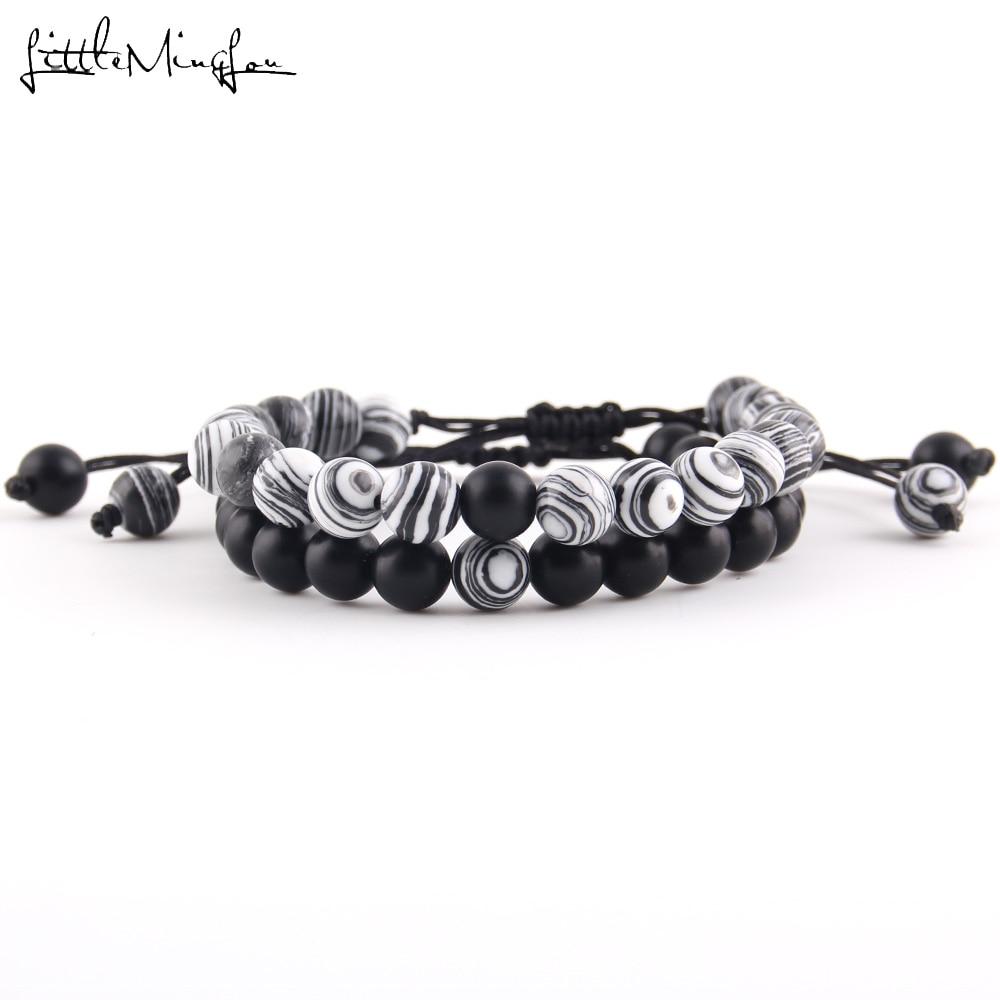 2pcs/set bracelet stack Malachite Tiger eyes Mix Natural Stone beads macrame Bracelet for mens jewellery men street style